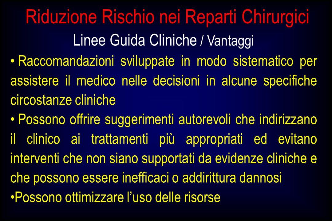 Riduzione Rischio nei Reparti Chirurgici Linee Guida Cliniche / Vantaggi Raccomandazioni sviluppate in modo sistematico per assistere il medico nelle