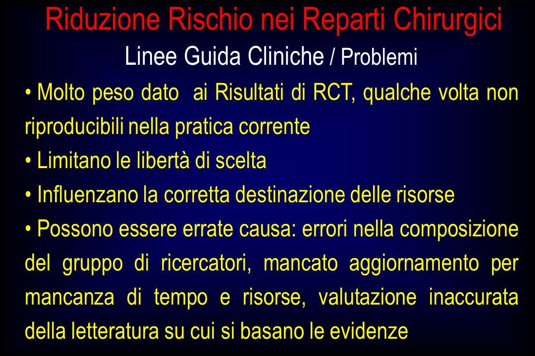 Riduzione Rischio nei Reparti Chirurgici Linee Guida Cliniche / Problemi Molto peso dato ai Risultati di RCT, qualche volta non riproducibili nella pr