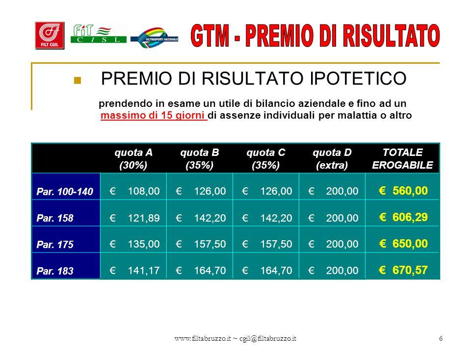www.filtabruzzo.it ~ cgil@filtabruzzo.it6 PREMIO DI RISULTATO IPOTETICO prendendo in esame un utile di bilancio aziendale e fino ad un massimo di 15 g