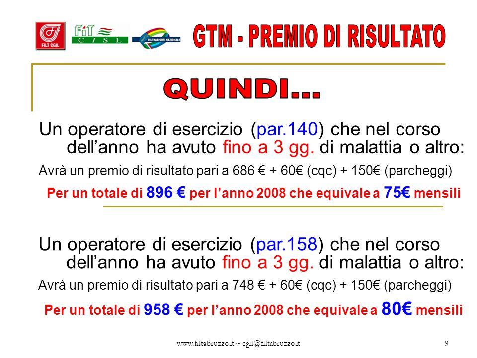 www.filtabruzzo.it ~ cgil@filtabruzzo.it10 Un operatore di esercizio (par.175) che nel corso dellanno ha avuto fino a 3 gg.