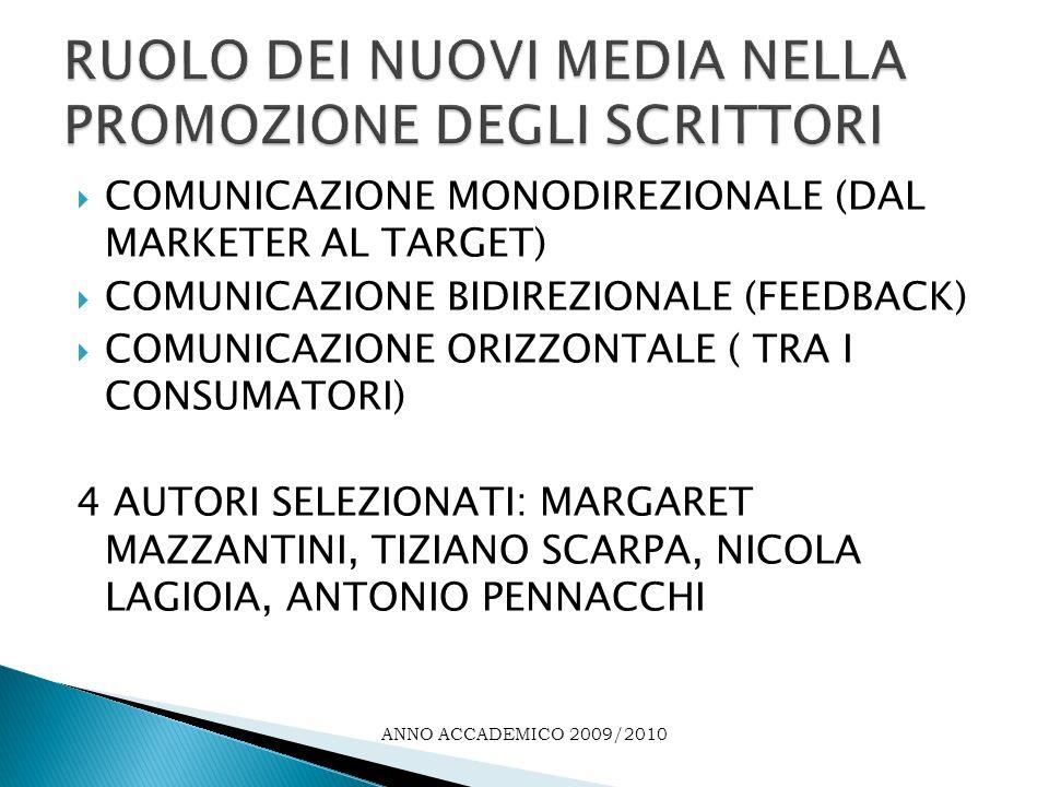 COMUNICAZIONE MONODIREZIONALE (DAL MARKETER AL TARGET) COMUNICAZIONE BIDIREZIONALE (FEEDBACK) COMUNICAZIONE ORIZZONTALE ( TRA I CONSUMATORI) 4 AUTORI SELEZIONATI: MARGARET MAZZANTINI, TIZIANO SCARPA, NICOLA LAGIOIA, ANTONIO PENNACCHI ANNO ACCADEMICO 2009/2010