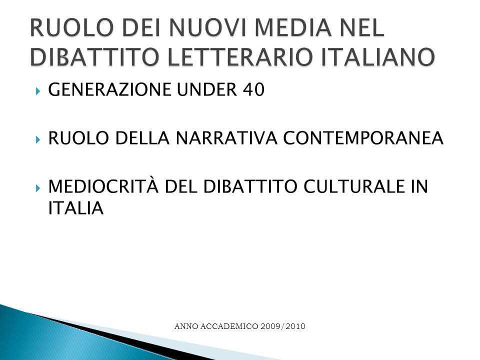 CONCLUSIONI ANNO ACCADEMICO 2009/2010