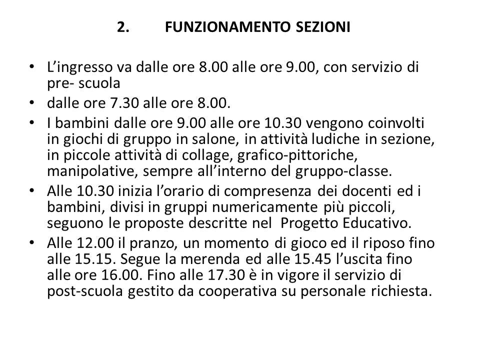 2.FUNZIONAMENTO SEZIONI Lingresso va dalle ore 8.00 alle ore 9.00, con servizio di pre- scuola dalle ore 7.30 alle ore 8.00. I bambini dalle ore 9.00