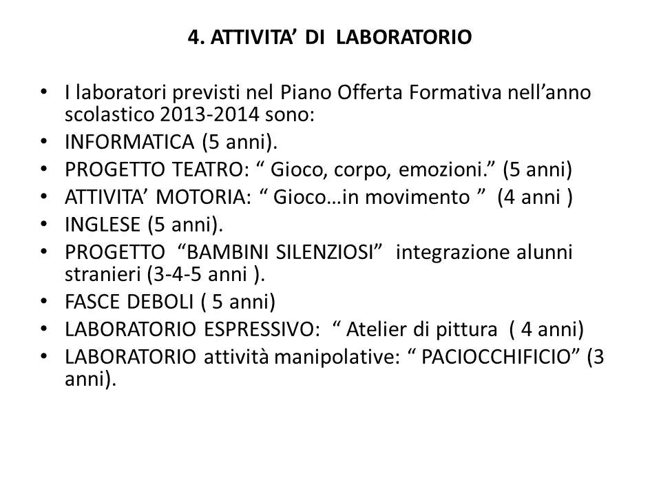 4. ATTIVITA DI LABORATORIO I laboratori previsti nel Piano Offerta Formativa nellanno scolastico 2013-2014 sono: INFORMATICA (5 anni). PROGETTO TEATRO