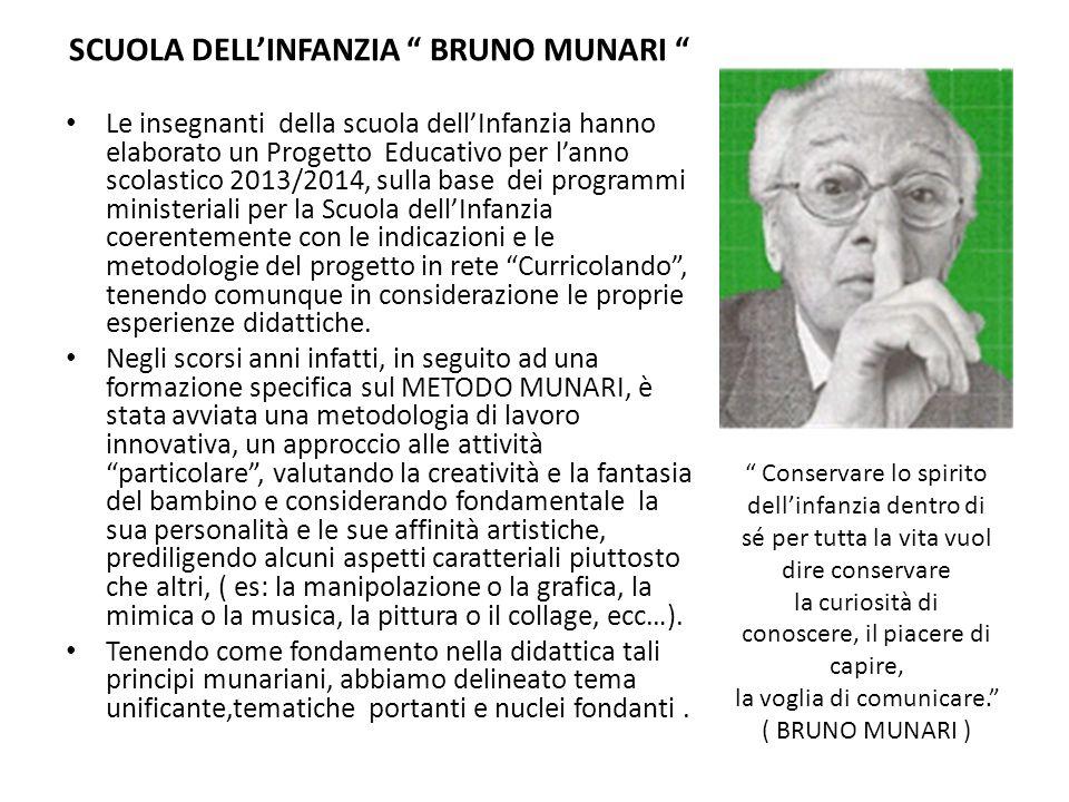 SCUOLA DELLINFANZIA BRUNO MUNARI Le insegnanti della scuola dellInfanzia hanno elaborato un Progetto Educativo per lanno scolastico 2013/2014, sulla b