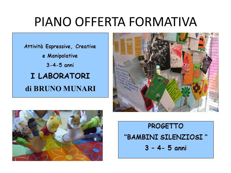 PIANO OFFERTA FORMATIVA Attività Espressive, Creative e Manipolative 3-4-5 anni I LABORATORI di BRUNO MUNARI PROGETTO BAMBINI SILENZIOSI 3 – 4- 5 anni