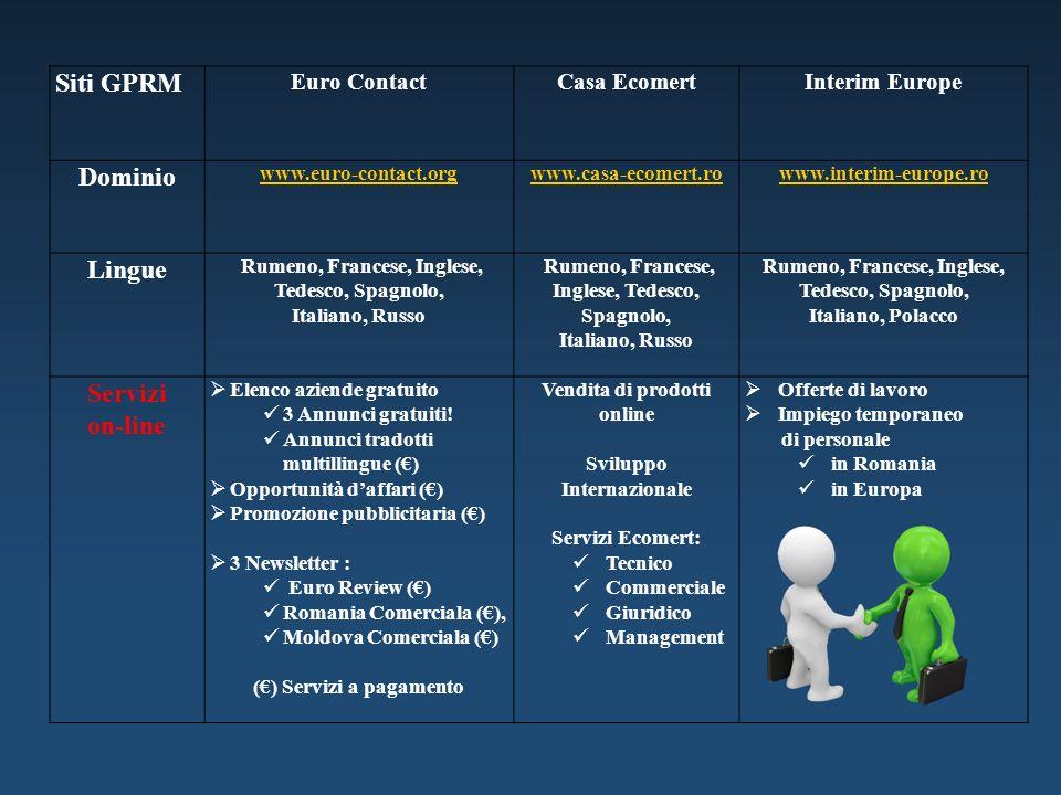 Siti GPRM Euro ContactCasa EcomertInterim Europe Dominio www.euro-contact.orgwww.casa-ecomert.rowww.interim-europe.ro Lingue Rumeno, Francese, Inglese