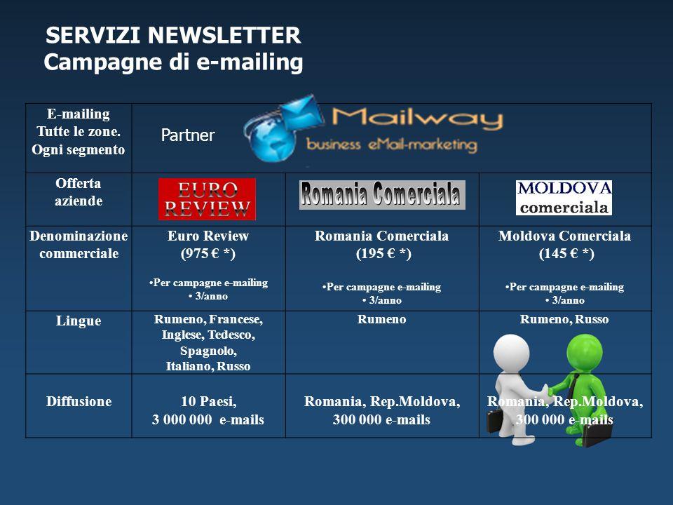 E-mailing Tutte le zone. Ogni segmento Partner Offerta aziende Denominazione commerciale Euro Review (975 *) Per campagne e-mailing 3/anno Romania Com