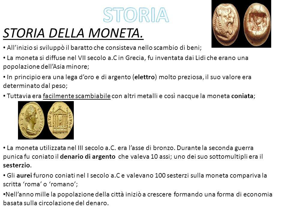 STORIA DELLA MONETA. Allinizio si sviluppò il baratto che consisteva nello scambio di beni; La moneta si diffuse nel VII secolo a.C in Grecia, fu inve