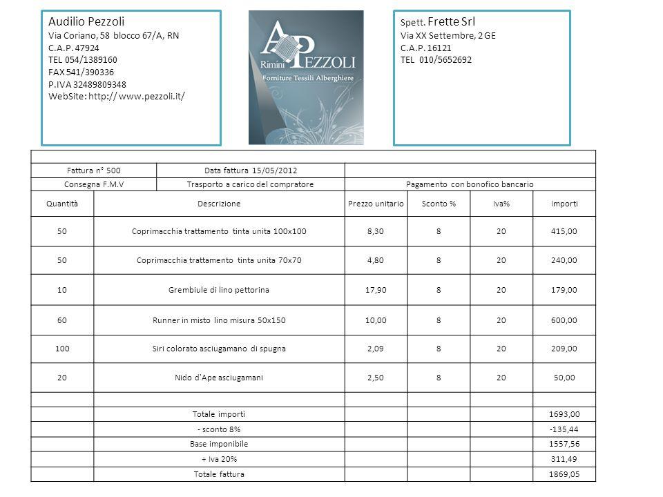 Fattura n° 500Data fattura 15/05/2012 Consegna F.M.VTrasporto a carico del compratorePagamento con bonofico bancario QuantitàDescrizionePrezzo unitari