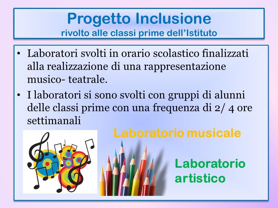 Progetto Inclusione rivolto alle classi prime dellIstituto Laboratori svolti in orario scolastico finalizzati alla realizzazione di una rappresentazio