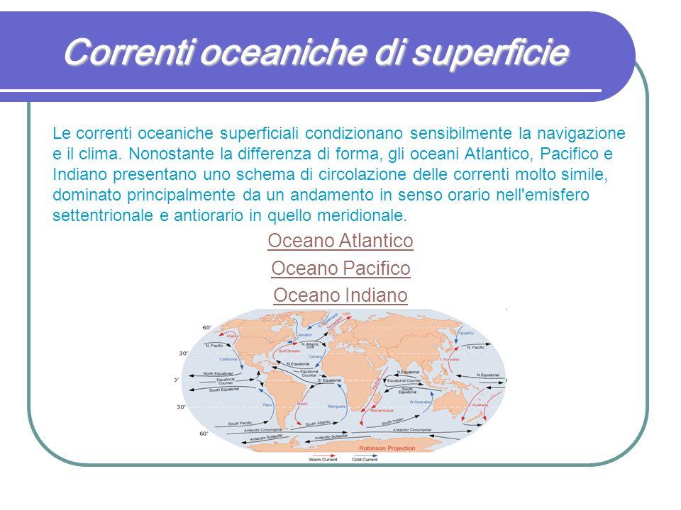 Correnti oceaniche di superficie Le correnti oceaniche superficiali condizionano sensibilmente la navigazione e il clima. Nonostante la differenza di