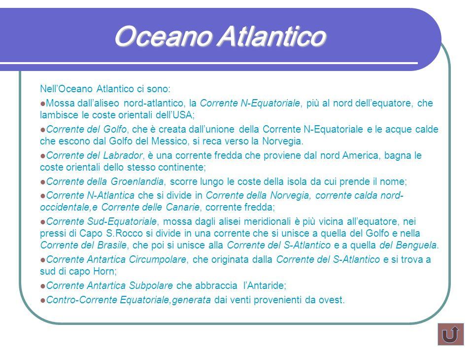 Oceano Atlantico NellOceano Atlantico ci sono: Mossa dallaliseo nord-atlantico, la Corrente N-Equatoriale, più al nord dellequatore, che lambisce le c