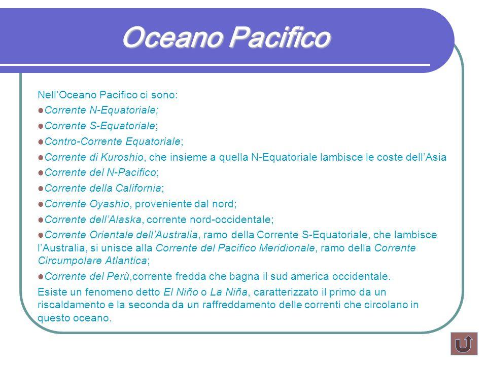 Oceano Pacifico NellOceano Pacifico ci sono: Corrente N-Equatoriale; Corrente S-Equatoriale; Contro-Corrente Equatoriale; Corrente di Kuroshio, che in