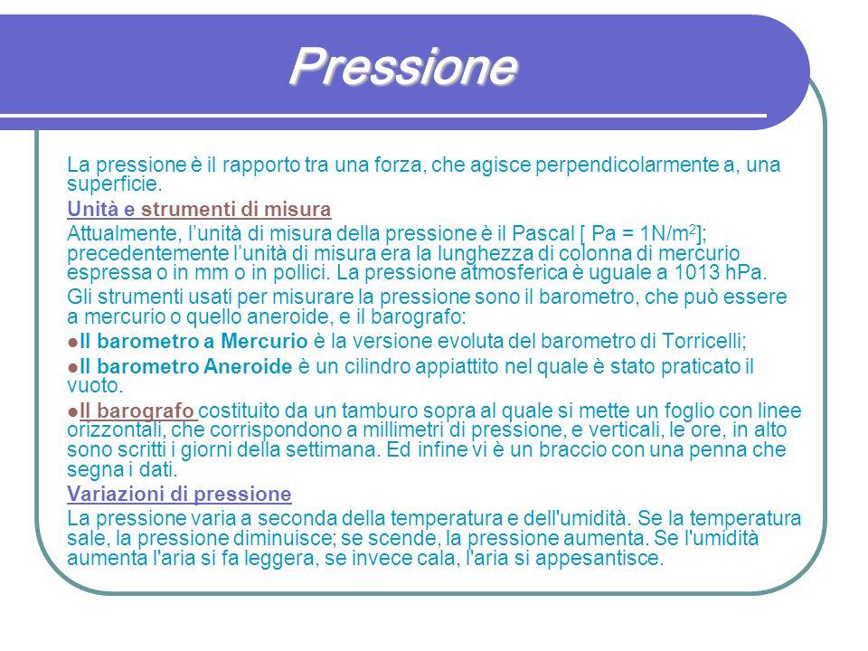 Pressione La pressione è il rapporto tra una forza, che agisce perpendicolarmente a, una superficie. Unità e strumenti di misurastrumenti di misura At