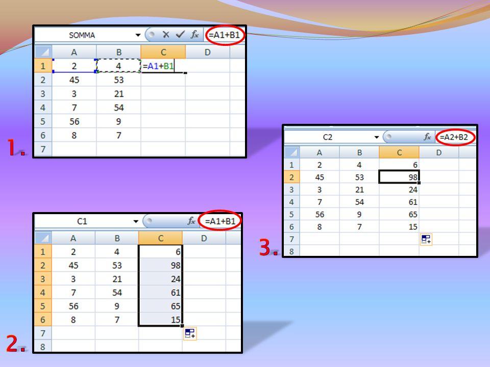 Se avessimo, per esempio, due colonne di numeri e volessimo eseguire la somma tra di essi, basterebbe impostare la prima formula e per trascinamento o