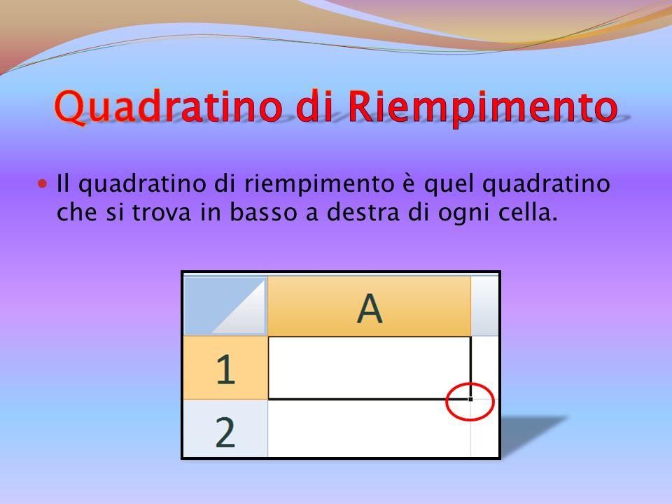 Il quadratino di riempimento è quel quadratino che si trova in basso a destra di ogni cella.