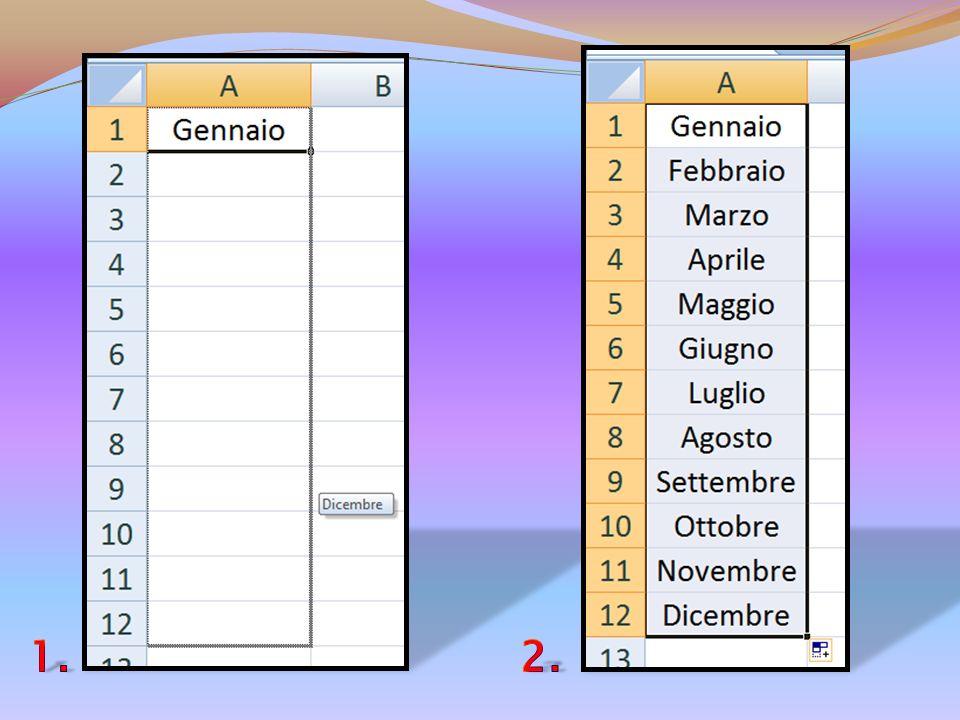 Excel è uno strumento intelligente in quanto mi permette di risparmiare tempo ed energia. Per esempio se voglio scrivere tutti i mesi dellanno basta c