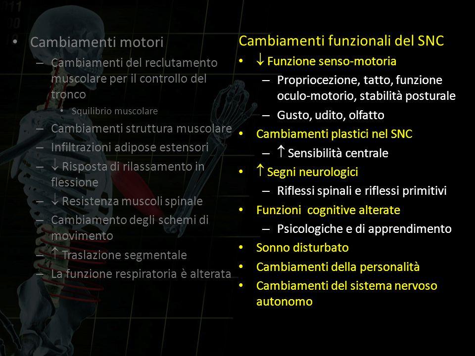 Cambiamenti motori – Cambiamenti del reclutamento muscolare per il controllo del tronco Squilibrio muscolare – Cambiamenti struttura muscolare – Infil