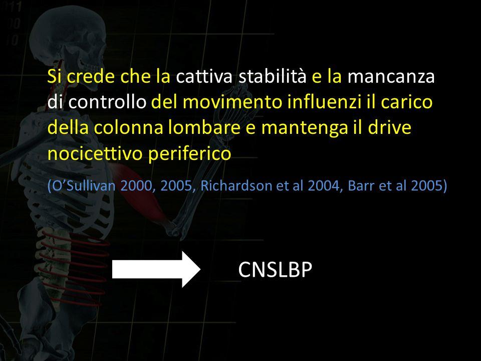 Si crede che la cattiva stabilità e la mancanza di controllo del movimento influenzi il carico della colonna lombare e mantenga il drive nocicettivo p