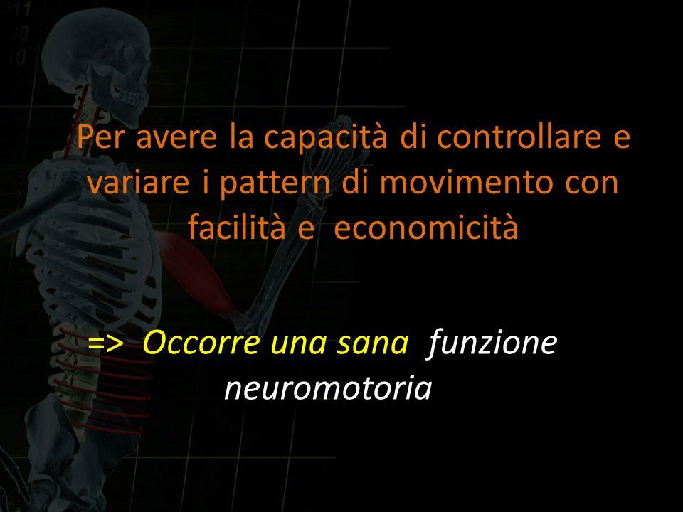 Per avere la capacità di controllare e variare i pattern di movimento con facilità e economicità => Occorre una sana funzione neuromotoria