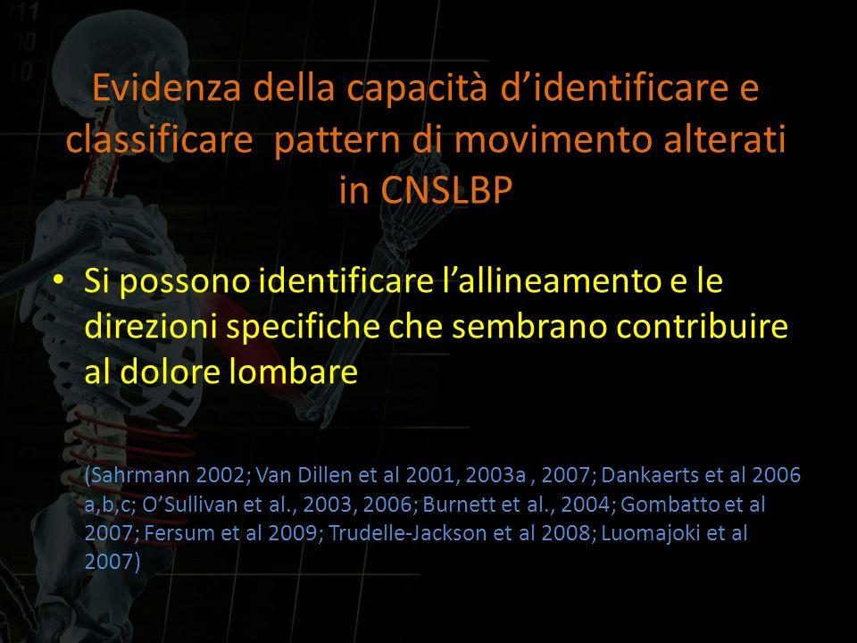 Evidenza della capacità didentificare e classificare pattern di movimento alterati in CNSLBP Si possono identificare lallineamento e le direzioni spec