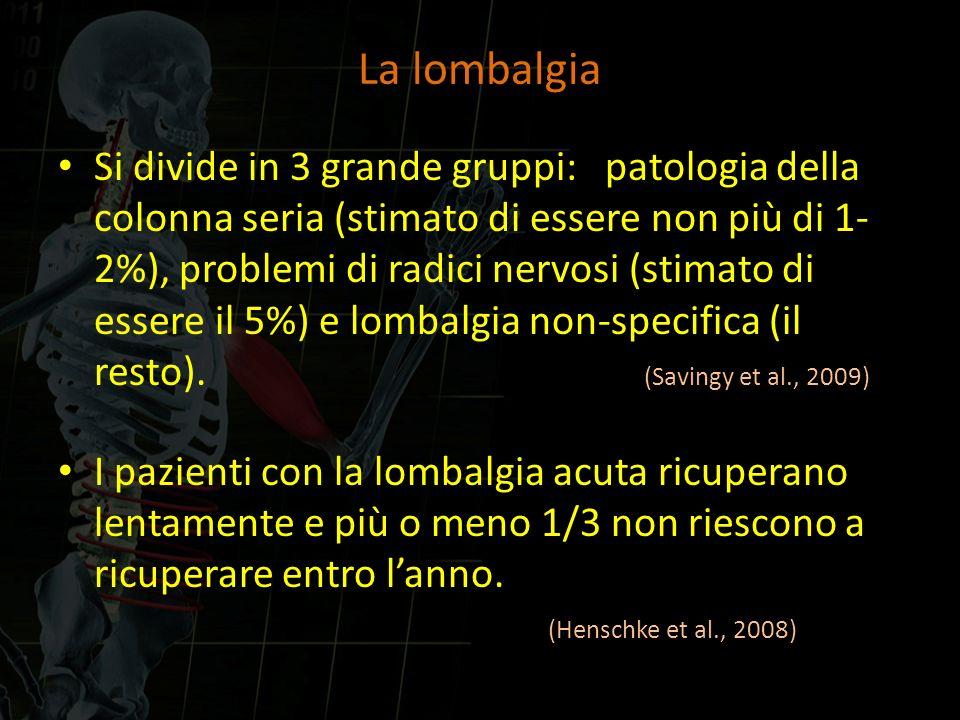 La lombalgia Si divide in 3 grande gruppi: patologia della colonna seria (stimato di essere non più di 1- 2%), problemi di radici nervosi (stimato di