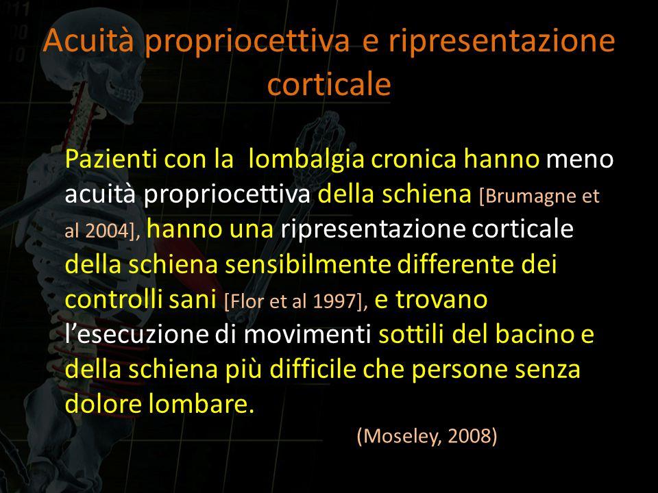 Acuità propriocettiva e ripresentazione corticale Pazienti con la lombalgia cronica hanno meno acuità propriocettiva della schiena [Brumagne et al 200