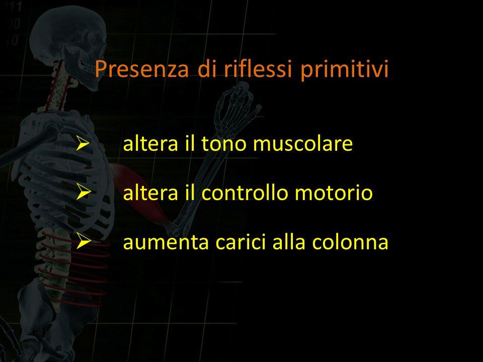 Presenza di riflessi primitivi altera il tono muscolare altera il controllo motorio aumenta carici alla colonna
