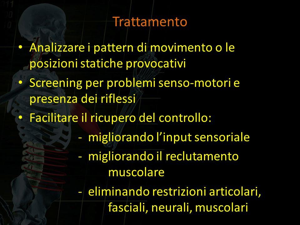 Trattamento Analizzare i pattern di movimento o le posizioni statiche provocativi Screening per problemi senso-motori e presenza dei riflessi Facilita