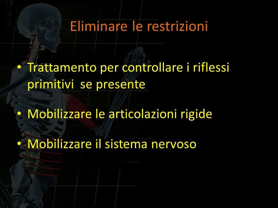 Eliminare le restrizioni Trattamento per controllare i riflessi primitivi se presente Mobilizzare le articolazioni rigide Mobilizzare il sistema nervo