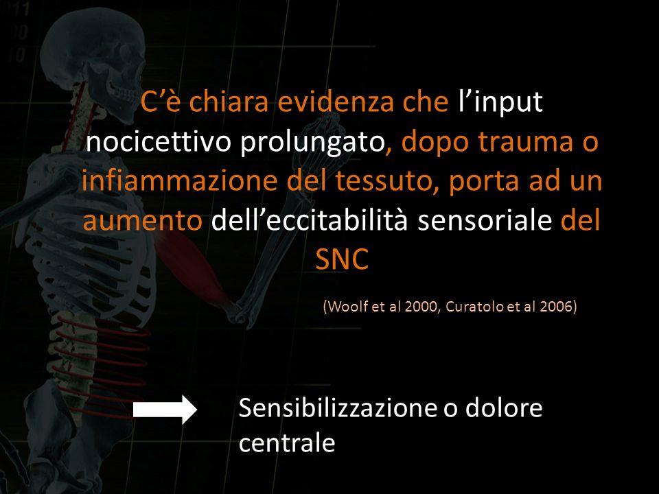 Cè chiara evidenza che linput nocicettivo prolungato, dopo trauma o infiammazione del tessuto, porta ad un aumento delleccitabilità sensoriale del SNC
