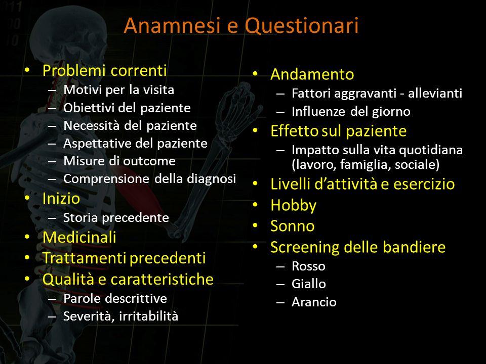 Anamnesi e Questionari Problemi correnti – Motivi per la visita – Obiettivi del paziente – Necessità del paziente – Aspettative del paziente – Misure