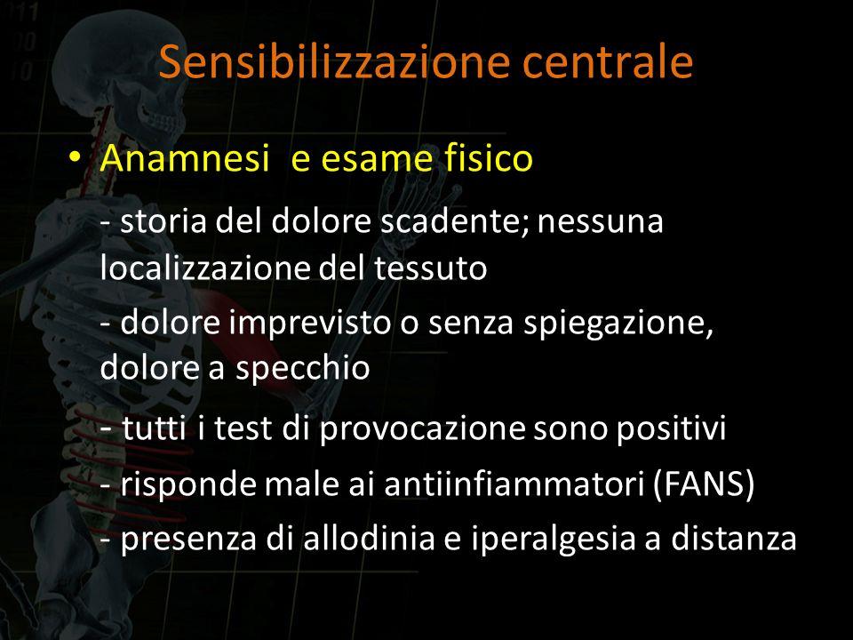 Sensibilizzazione centrale Anamnesi e esame fisico - storia del dolore scadente; nessuna localizzazione del tessuto - dolore imprevisto o senza spiega