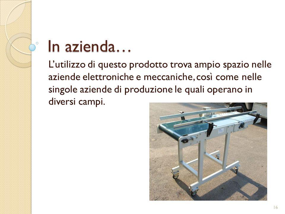 In azienda… Lutilizzo di questo prodotto trova ampio spazio nelle aziende elettroniche e meccaniche, così come nelle singole aziende di produzione le quali operano in diversi campi.