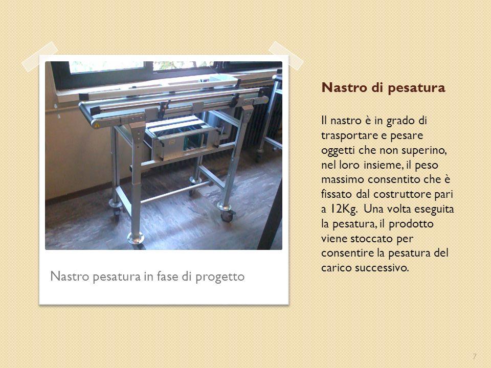 Nastro di pesatura Il nastro è in grado di trasportare e pesare oggetti che non superino, nel loro insieme, il peso massimo consentito che è fissato dal costruttore pari a 12Kg.