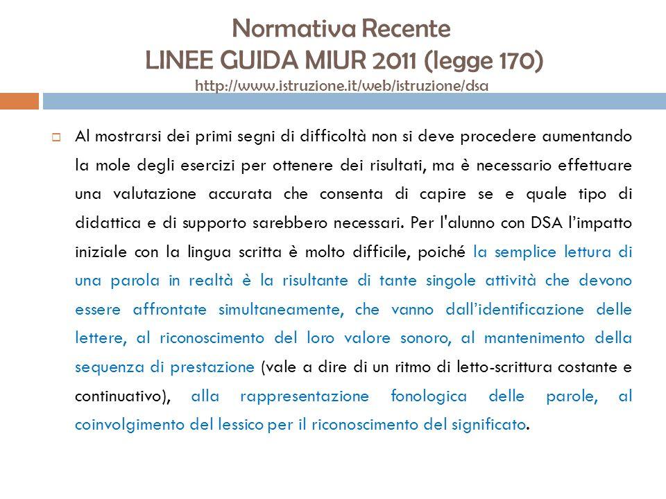 Normativa Recente LINEE GUIDA MIUR 2011 (legge 170) http://www.istruzione.it/web/istruzione/dsa Al mostrarsi dei primi segni di difficoltà non si deve