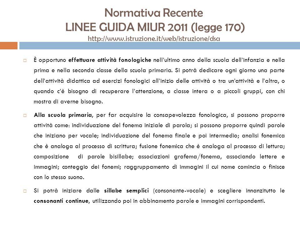 Normativa Recente LINEE GUIDA MIUR 2011 (legge 170) http://www.istruzione.it/web/istruzione/dsa È opportuno effettuare attività fonologiche nellultimo