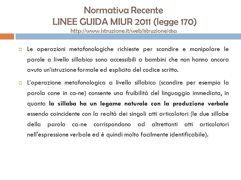 Normativa Recente LINEE GUIDA MIUR 2011 (legge 170) http://www.istruzione.it/web/istruzione/dsa Le operazioni metafonologiche richieste per scandire e