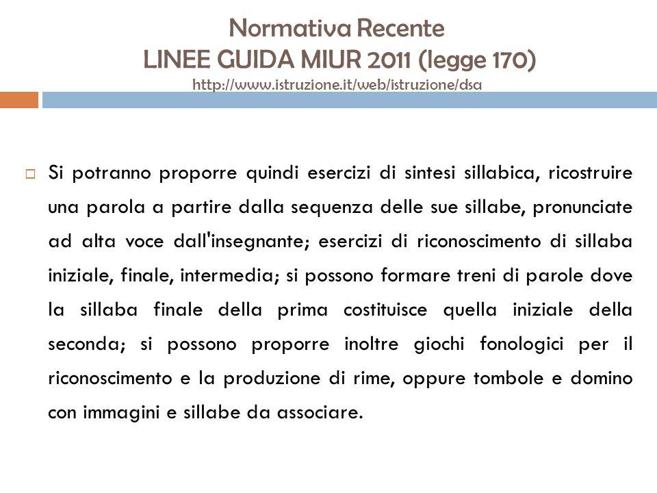 Normativa Recente LINEE GUIDA MIUR 2011 (legge 170) http://www.istruzione.it/web/istruzione/dsa Si potranno proporre quindi esercizi di sintesi sillab