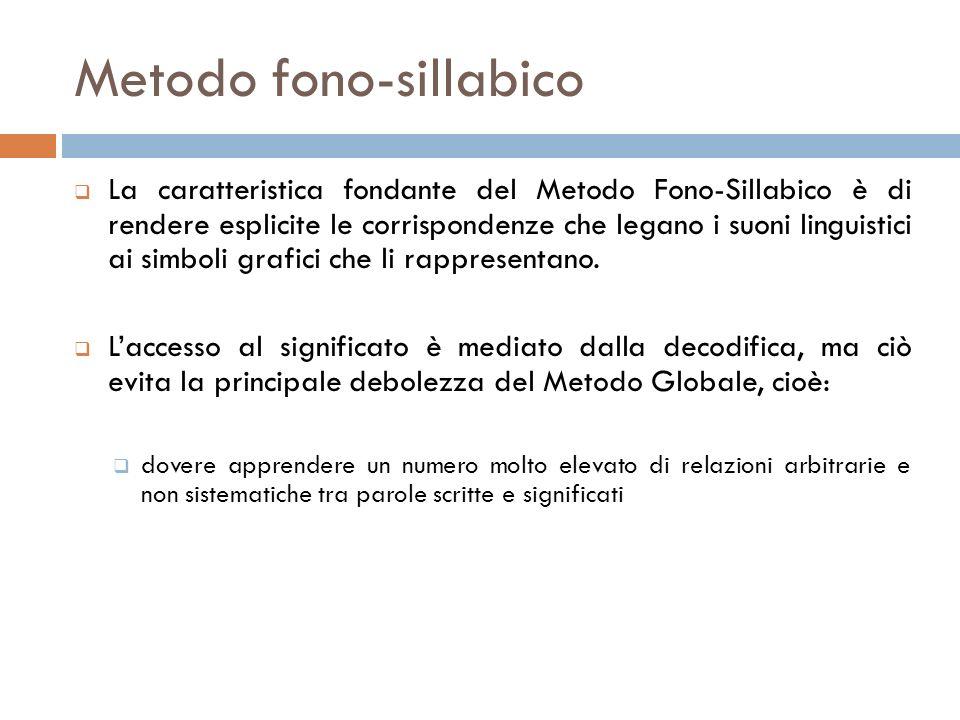 Metodo fono-sillabico La caratteristica fondante del Metodo Fono-Sillabico è di rendere esplicite le corrispondenze che legano i suoni linguistici ai