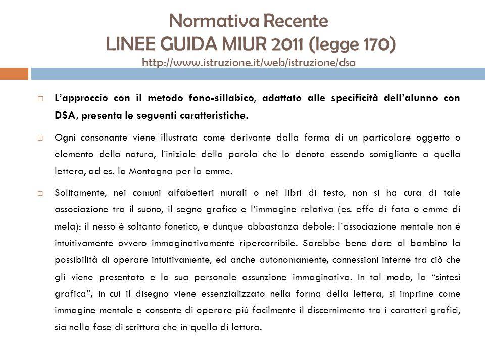 Normativa Recente LINEE GUIDA MIUR 2011 (legge 170) http://www.istruzione.it/web/istruzione/dsa Lapproccio con il metodo fono-sillabico, adattato alle