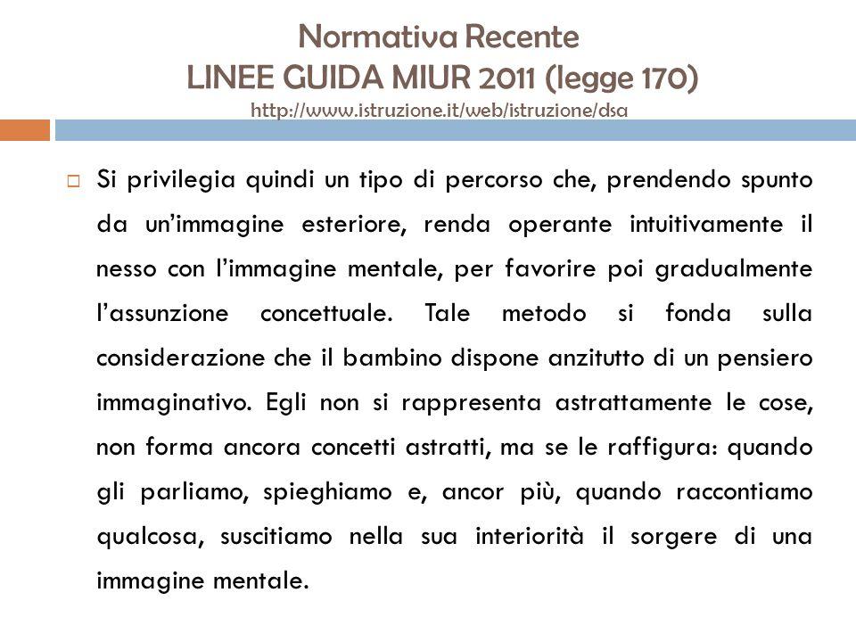 Normativa Recente LINEE GUIDA MIUR 2011 (legge 170) http://www.istruzione.it/web/istruzione/dsa Si privilegia quindi un tipo di percorso che, prendend