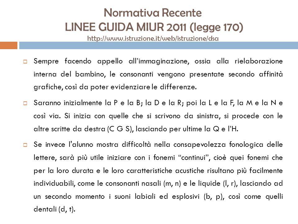 Normativa Recente LINEE GUIDA MIUR 2011 (legge 170) http://www.istruzione.it/web/istruzione/dsa Sempre facendo appello allimmaginazione, ossia alla ri
