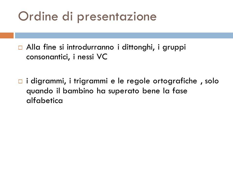 Ordine di presentazione Alla fine si introdurranno i dittonghi, i gruppi consonantici, i nessi VC i digrammi, i trigrammi e le regole ortografiche, so