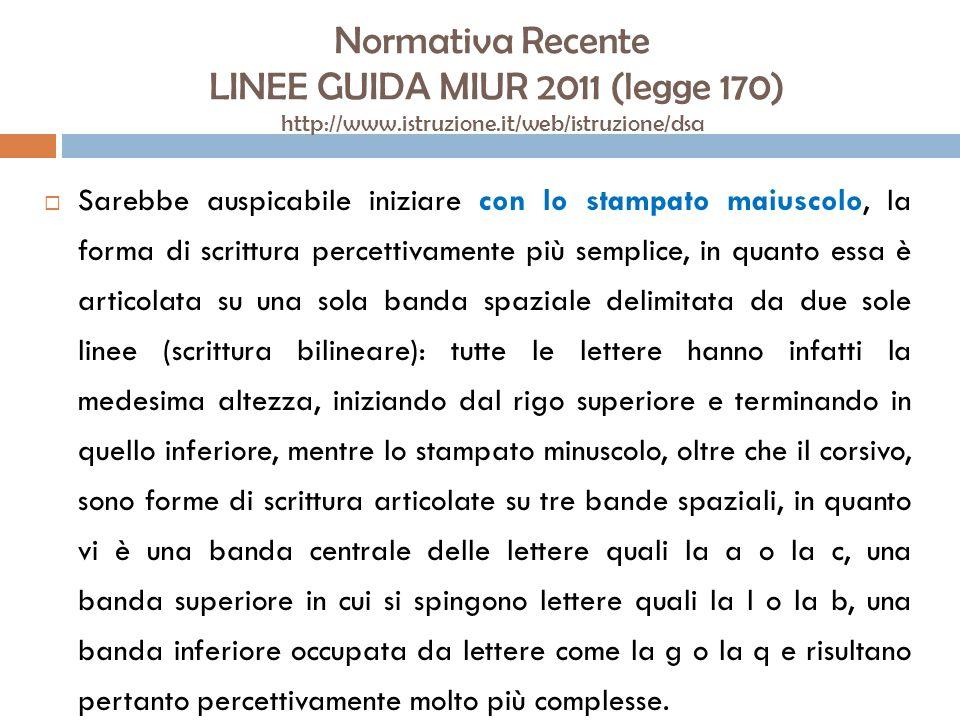Normativa Recente LINEE GUIDA MIUR 2011 (legge 170) http://www.istruzione.it/web/istruzione/dsa Sarebbe auspicabile iniziare con lo stampato maiuscolo