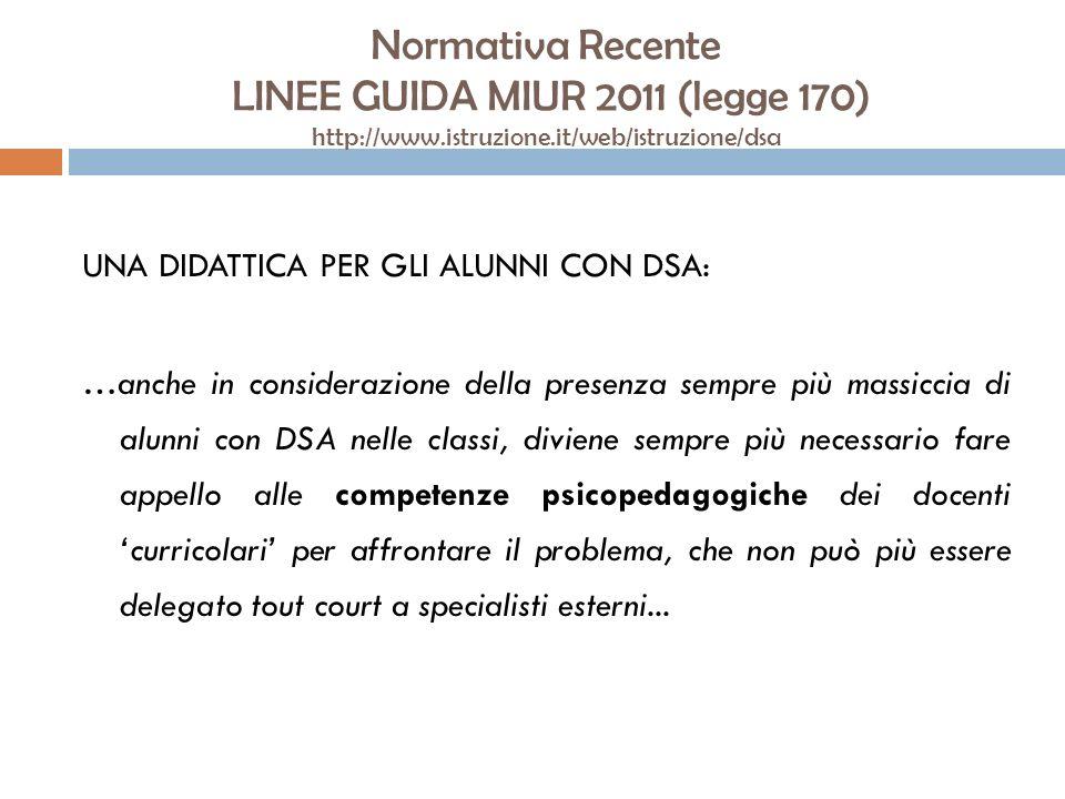 Normativa Recente LINEE GUIDA MIUR 2011 (legge 170) http://www.istruzione.it/web/istruzione/dsa UNA DIDATTICA PER GLI ALUNNI CON DSA: …anche in consid