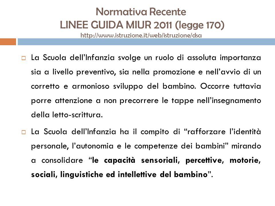 Normativa Recente LINEE GUIDA MIUR 2011 (legge 170) http://www.istruzione.it/web/istruzione/dsa La Scuola dellInfanzia svolge un ruolo di assoluta imp