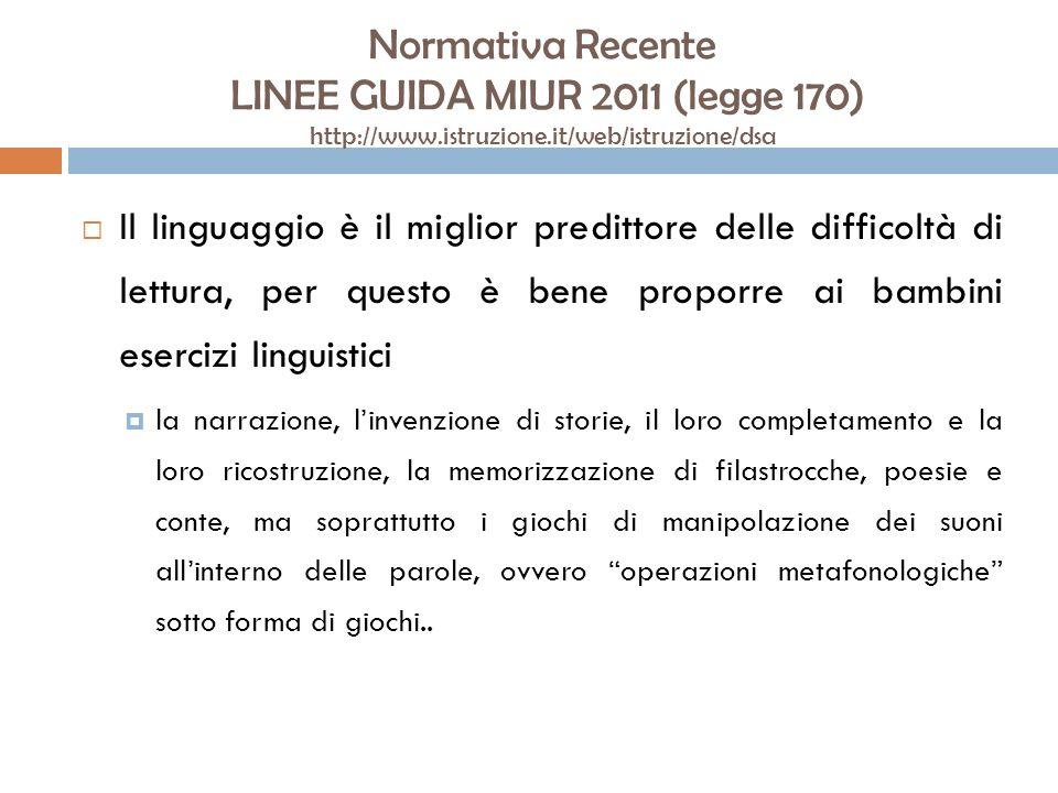 Normativa Recente LINEE GUIDA MIUR 2011 (legge 170) http://www.istruzione.it/web/istruzione/dsa Il linguaggio è il miglior predittore delle difficoltà