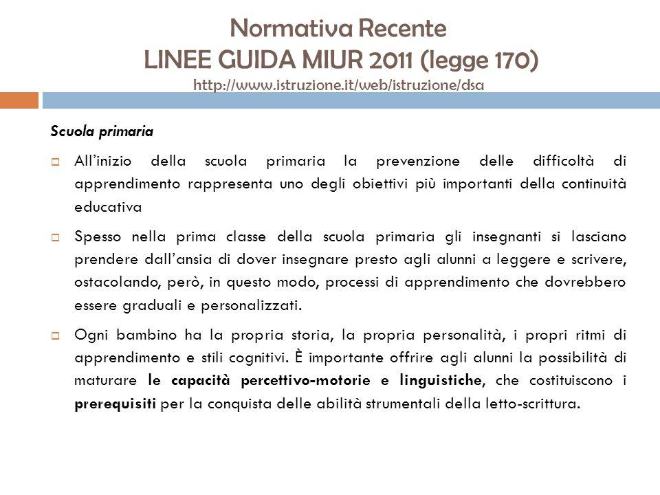 Normativa Recente LINEE GUIDA MIUR 2011 (legge 170) http://www.istruzione.it/web/istruzione/dsa Scuola primaria Allinizio della scuola primaria la pre
